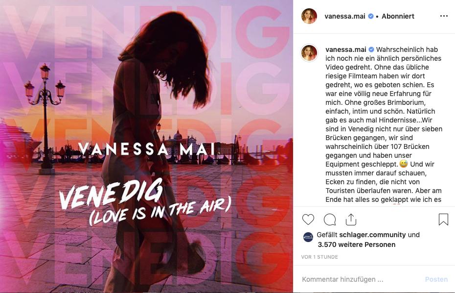 Screenshot Vanessa Mai Instagram Venedig