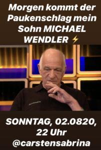 Ankündigung Manfred Weßels Screenshot ©instagram.com/carstensabrina